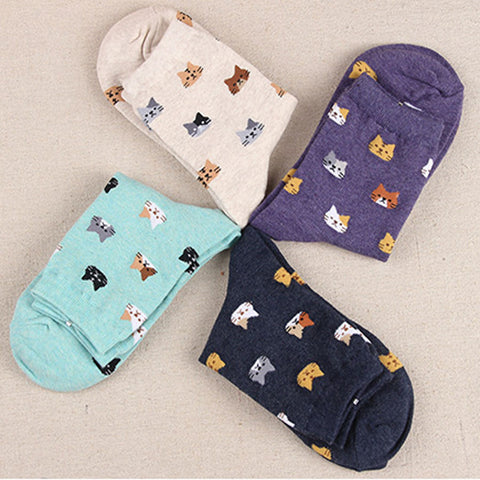 Cute Casual Cat Cotton Socks