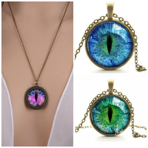 Cat Eye Rhinestone Pendant Necklace