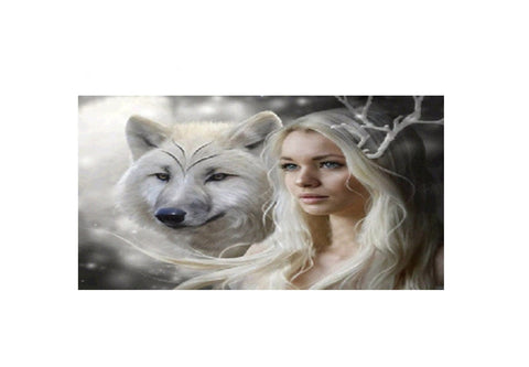Diamond Art Kit -Beauty and Snow Wolf -
