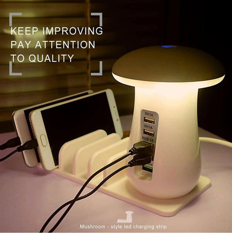 Multi Port USB Charger Mushroom Night Lamp
