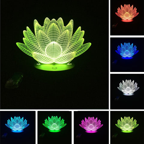 3D Lotus Flower Optical Illusion Lamp