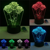 3D Romantic Rose Optical Illusion Lamp