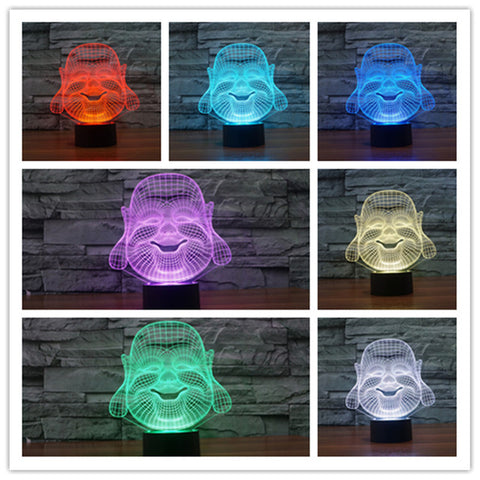3D Smiling Buddha Optical Illusion Lamp