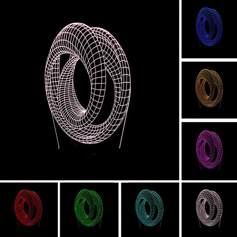 3D Abstract Double Ring Optical Illusion Lamp