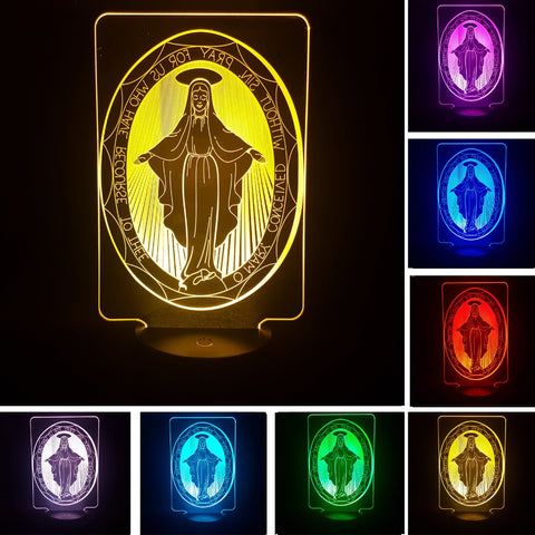 3D The Virgin Mary Optical Illusion Lamp