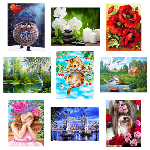 Diamond Art Kit - Flower, Animal, Landscape-