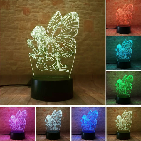 3D Butterfly Fairy Girl Optical Illusion Lamp