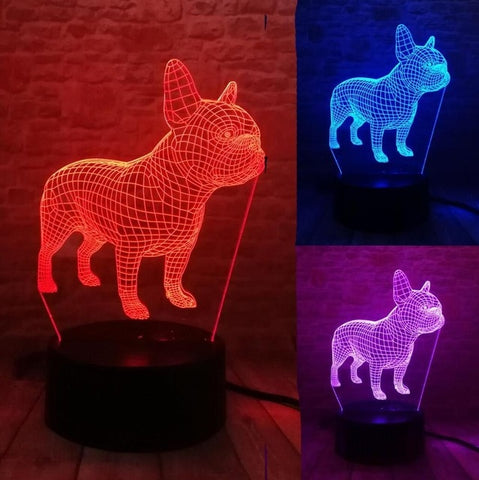 3D French Bulldog Optical Illusion Lamp
