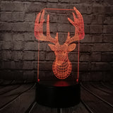 3D Retro ELK Reindeer Optical Illusion Lamp