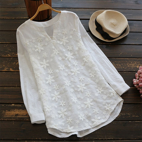 Elegant Floral Embroidery Baggy Blouse