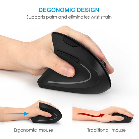 Ergonomic Vertical Wireless Mouse (Left Hand)