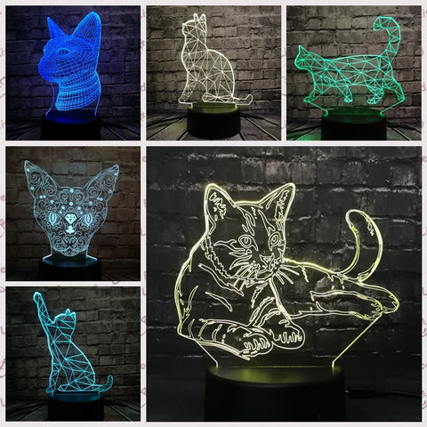 3D Cat Series Optical Illusion Lamp