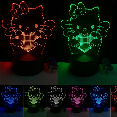 3D Cute Love Heart Cat Optical Illusion Lamp