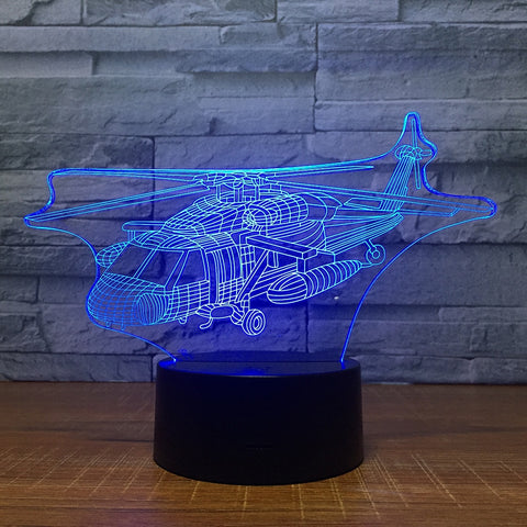 3D Combat Helicopter Optical Illusion Lamp