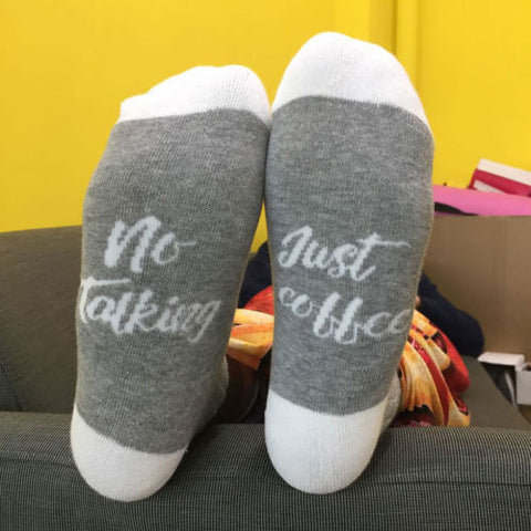 "Unisex ""  No Talking Just Coffee "" Casual Socks (1 Pair)"
