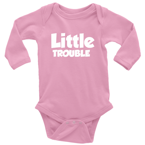 Long Sleeve Baby Bodysuit - Big/Little Trouble - White Text