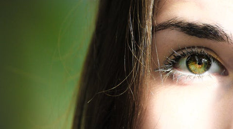 half face photography of woman's eye