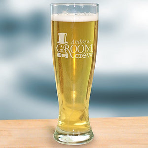 Engraved Groom Crew Glass