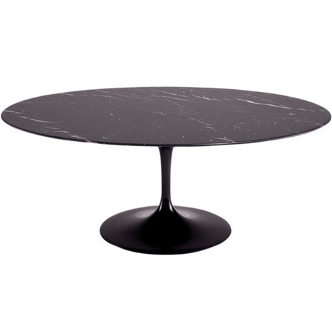 "Replica Eero Saarinen Tulip Table - Marble Oval 78"" Top"