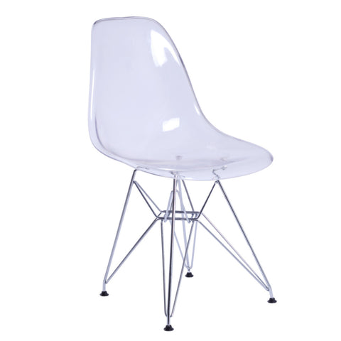 GlossWire Eiffel Style Clear Molded Side Chair - Clear