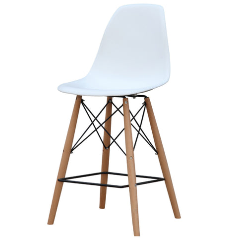 Replica Molded Plastic Bar Stool - Wood Leg