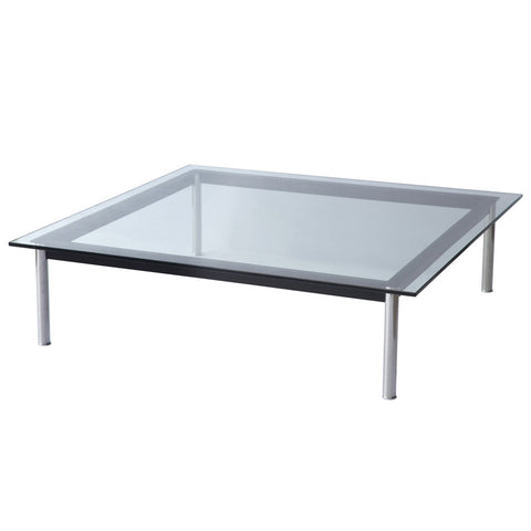 "Replica Le Corbusier LC10 Square Low Table - 27"" Ht - Clear"