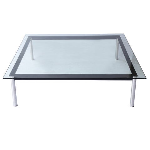 "Replica Le Corbusier LC10 Square Low Table - 48"" Ht - Clear"