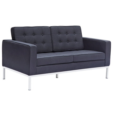 Florence Style Button Loveseat in Wool
