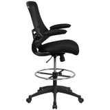 Mid-Back Mesh Drafting Chair Adjustable Foot Ring Flip-Up Arms