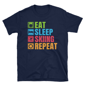 Eat Sleep Skiing Repeat T-Shirt, Funny Skiing Shirt, Skier T-Shirt