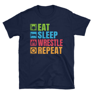 Eat Sleep Wrestle Repeat T-Shirt, Funny Wrestling T-Shirt