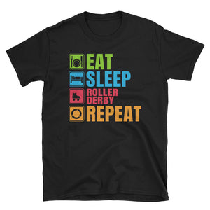 Eat Sleep Roller Derby Repeat T-Shirt, Roller Derby Shirt, Roller Derby Tshirt