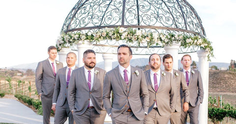 grey custom groom and groomsman suits