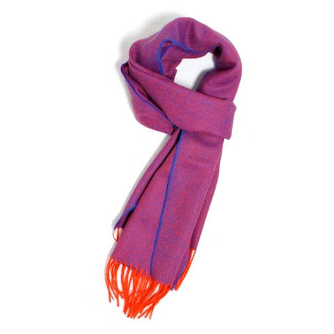 Premium Alpaca Diamond Scarf - Blue/Orange