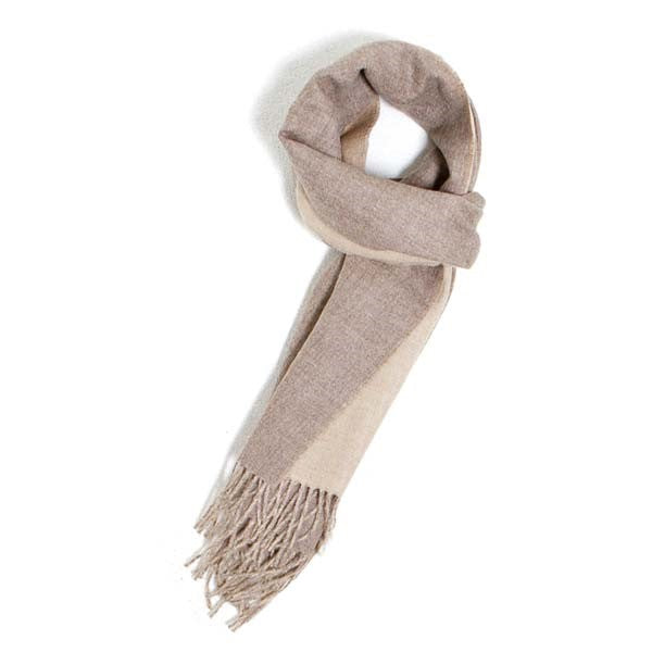 Premium Alpaca Double-faced Scarf - Donkey/Oatmeal