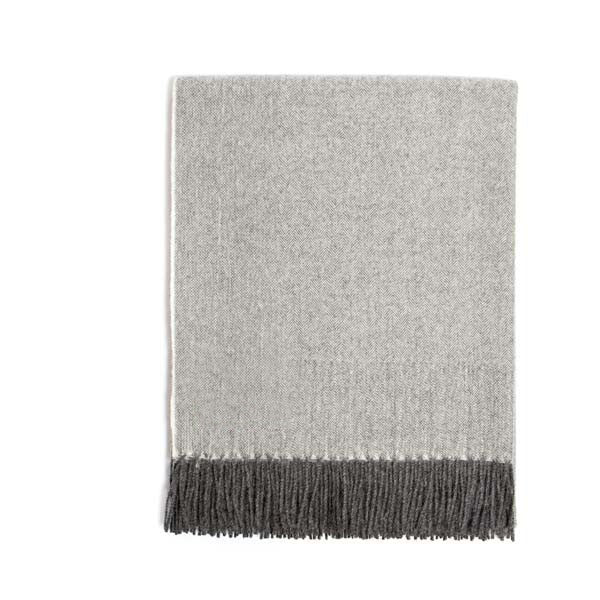 Premium Alpaca Herringbone Throw - Charcoal/Cream
