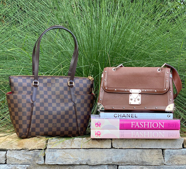 Louis Vuitton Damier Ebene Bag and Louis Vuitton Vintage Leather Bag