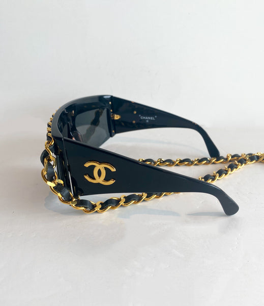 Chanel Chain-link Sunglasses Vintage Side CC Logo Gold