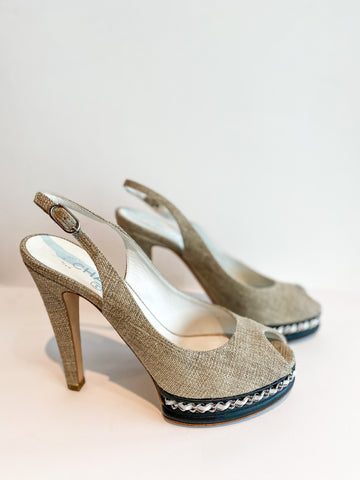 Chanel Chain-Link Slingback Pumps Side