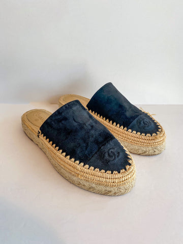 Chanel Black Suede Slide-on Espadrilles Interlocking CC Logo