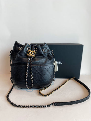Chanel Gabrielle Bucket Bag Black Leather