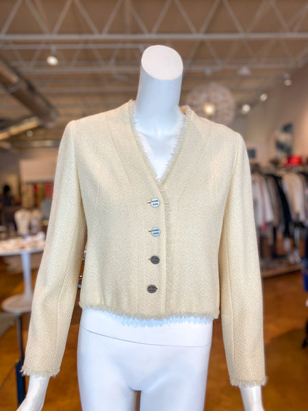 Chanel Button Front Ivory Blazer