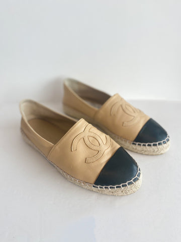 Chanel Leather Espadrille Interlocking CC Logo