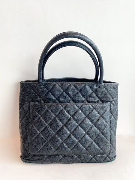 Chanel Medallion Caviar Tote Black Back with Pocket