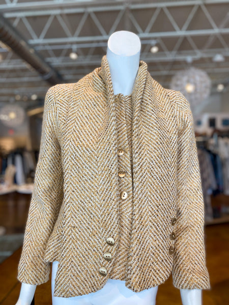 Chanel Tweed Gold Blazer Neck Accessory