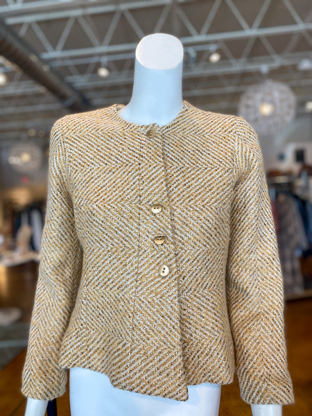 Chanel Tweed Gold Blazer Front of Jacket