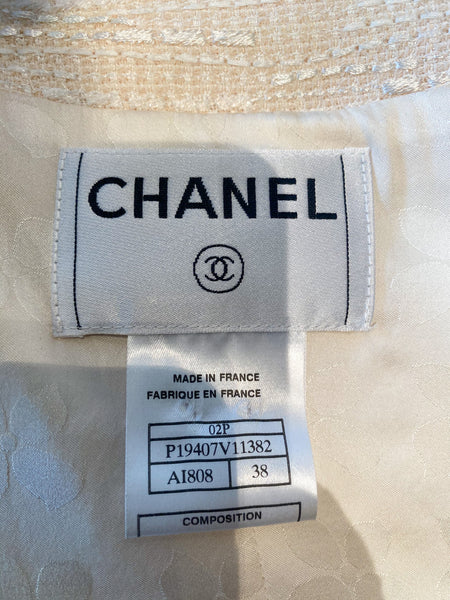 Chanel Tweed Zipper Blazer Back White Euro Buttons