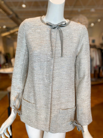 Chanel Tweed Evening Jacket Silver