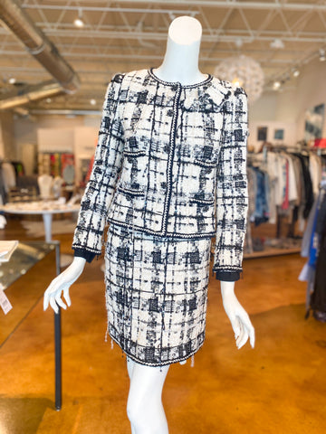 Chanel Tweed Plaid Suit Skirt Blazer Jacket Front