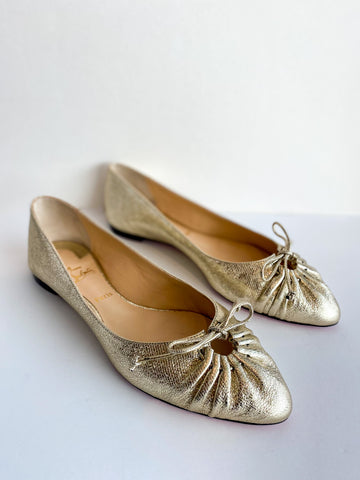 Christian Louboutin Embossed Leather Ballet Flats Gold